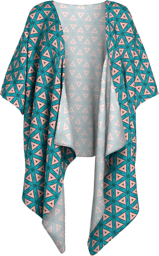 The Tracy Kimono in Teal and Coral-Draped Kimono-Clash Patterns by Jennifer Akkermans