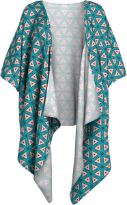 The Tracy Kimono in Teal and Coral