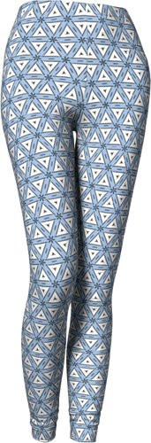 The Tracy Leggings in Blue and White-Leggings-Clash Patterns by Jennifer Akkermans