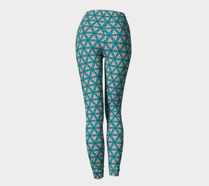 The Tracy Leggings in Teal and Coral-Clash Patterns