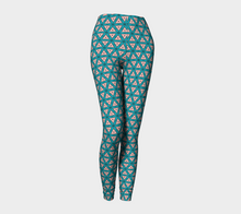 Load image into Gallery viewer, The Tracy Leggings in Teal and Coral-Clash Patterns