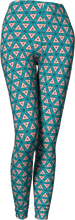 Load image into Gallery viewer, The Tracy Leggings in Teal and Coral-Leggings-Clash Patterns by Jennifer Akkermans