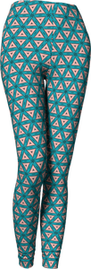 The Tracy Leggings in Teal and Coral-Leggings-Clash Patterns by Jennifer Akkermans