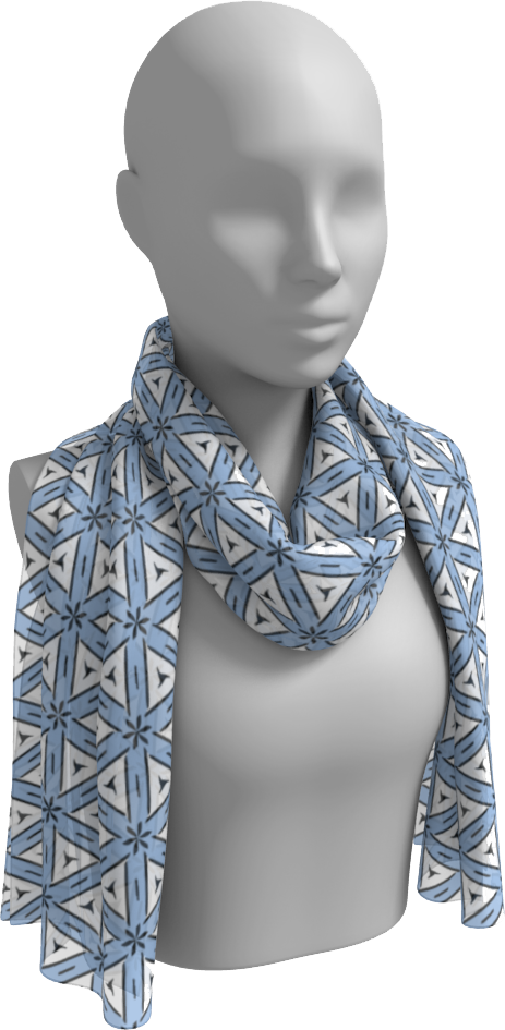 The Tracy Long Scarf in Blue and White