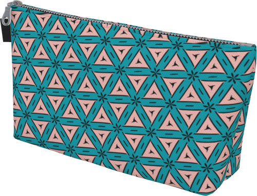 The Tracy Makeup Bag in Teal and Coral-Makeup Bag-Clash Patterns by Jennifer Akkermans