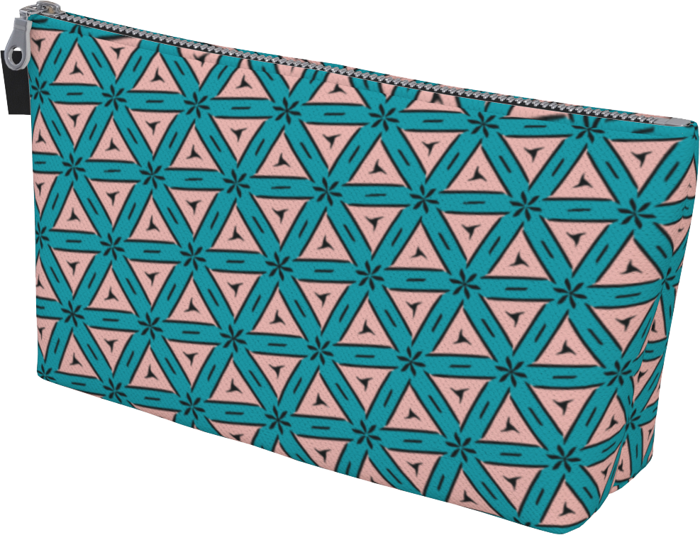 The Tracy Makeup Bag in Teal and Coral