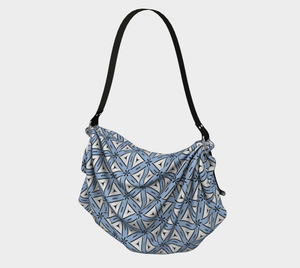 The Tracy Origami Bag in Blue and White-Clash Patterns