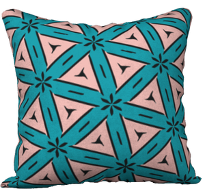 The Tracy Reversible Pillow in Teal and Coral