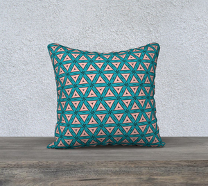 The Tracy Reversible Pillow in Teal and Coral-Clash Patterns