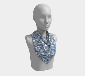 The Tracy Square Scarf in Blue and White