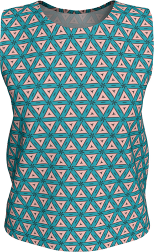 The Tracy Tank Top in Teal and Coral-Loose Tank Top (Regular)-Clash Patterns by Jennifer Akkermans