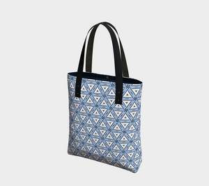 The Tracy Tote Bag in Blue and White-Clash Patterns