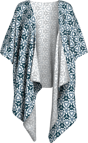 The Veronica Kimono in Neutrals-Draped Kimono-Clash Patterns by Jennifer Akkermans