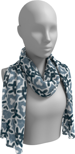 The Veronica Long Scarf in Neutrals-Long Scarf-Clash Patterns by Jennifer Akkermans