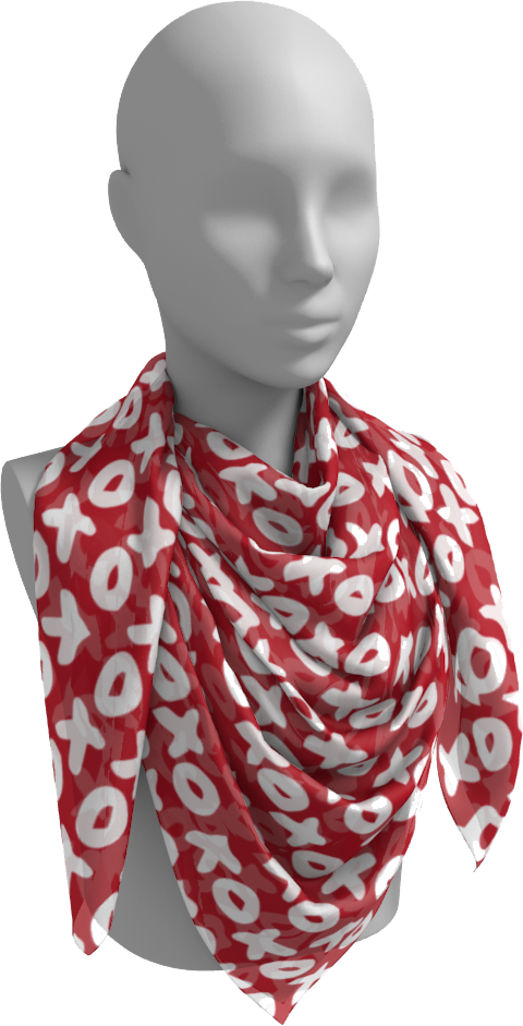 The X's and O's Square Scarf in Red