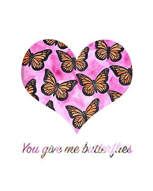 You Give Me Butterflies - Print-At-Home Art Print - Digital Download-Clash Patterns