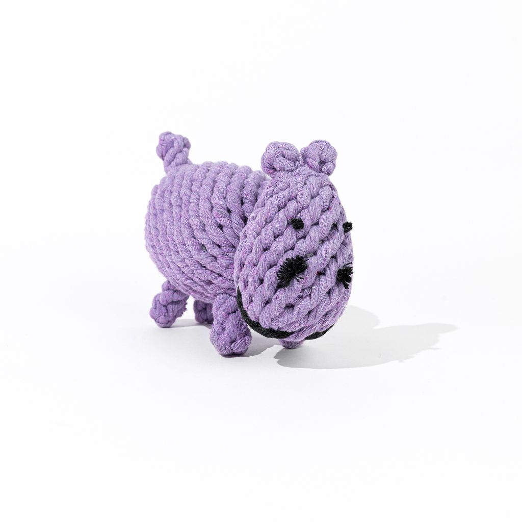 Natural Cotton Rope Dog Toy Hippo