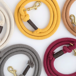Organic Cotton Rope Dog Leash in Caramel Brown