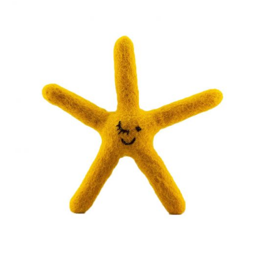 Starfish Felt Dog Toy Yellow