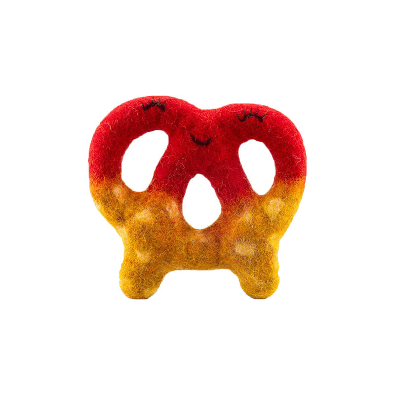 Felt Pretzel Dog Toy Red