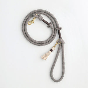 Organic Cotton Rope Dog Leash in Stone Grey