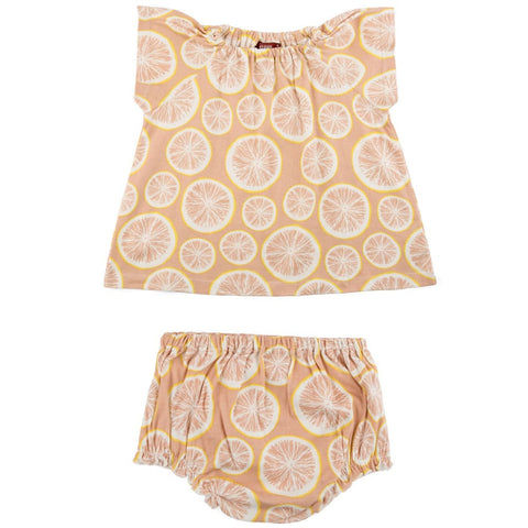 Grapefruit Organic Cotton Dress & Bloomer Set 3-6m
