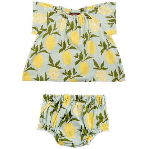 Lemon Organic Cotton Dress & Bloomer Set