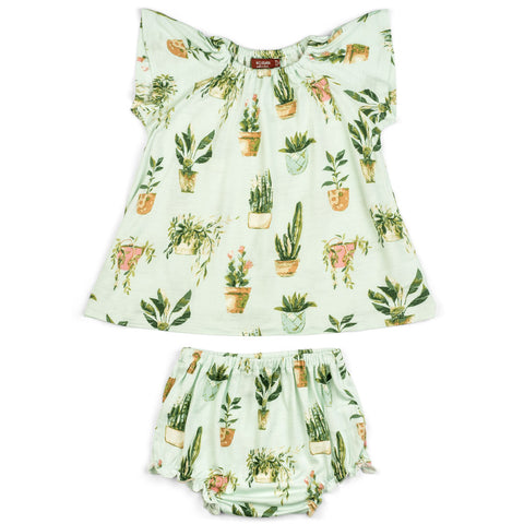 Potted Plants Bamboo Dress & Bloomer Set 3-6m