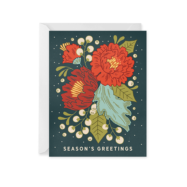 Paper Raven Co. - Festive Florals Holiday Card
