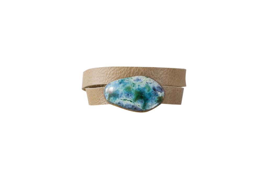Dandy Jewelry - Gem Wrap and Choker - Khaki Leather