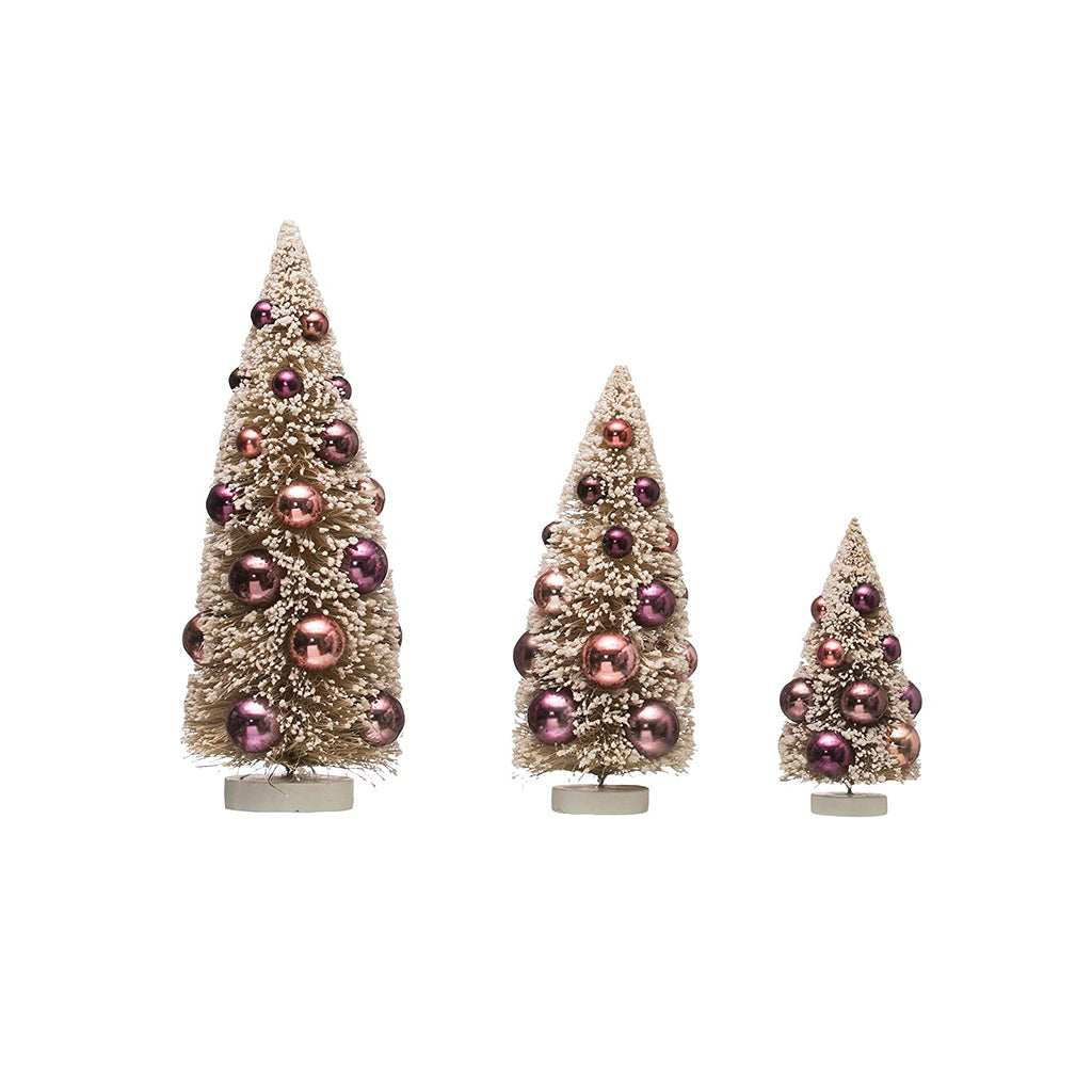 Plum Bottle Brush Tree with Ornaments on Wooden Base