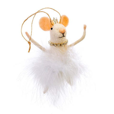 White Swan Princess Felted Mouse Ornament