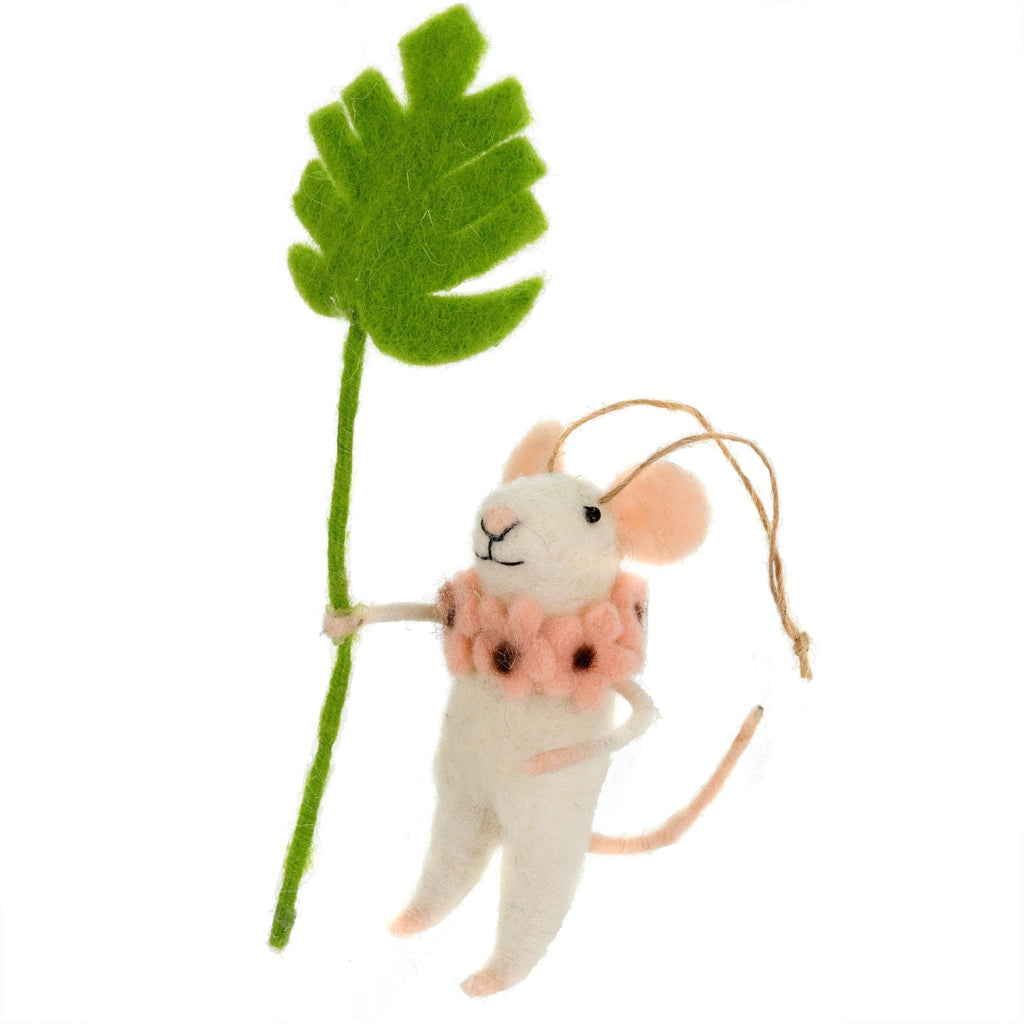 Monstera Maya Felted Mouse Ornament
