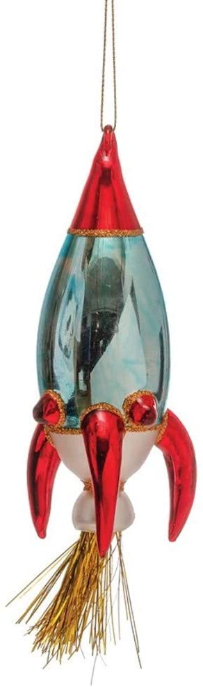 Outer Space Glass Rocket Ship Ornament