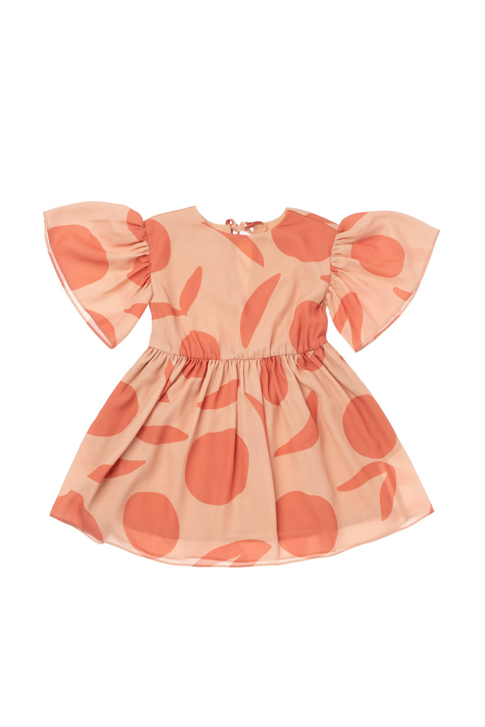OMAMImini - Peach Printed Fit and Flare Dress With Ruffled Sleeve
