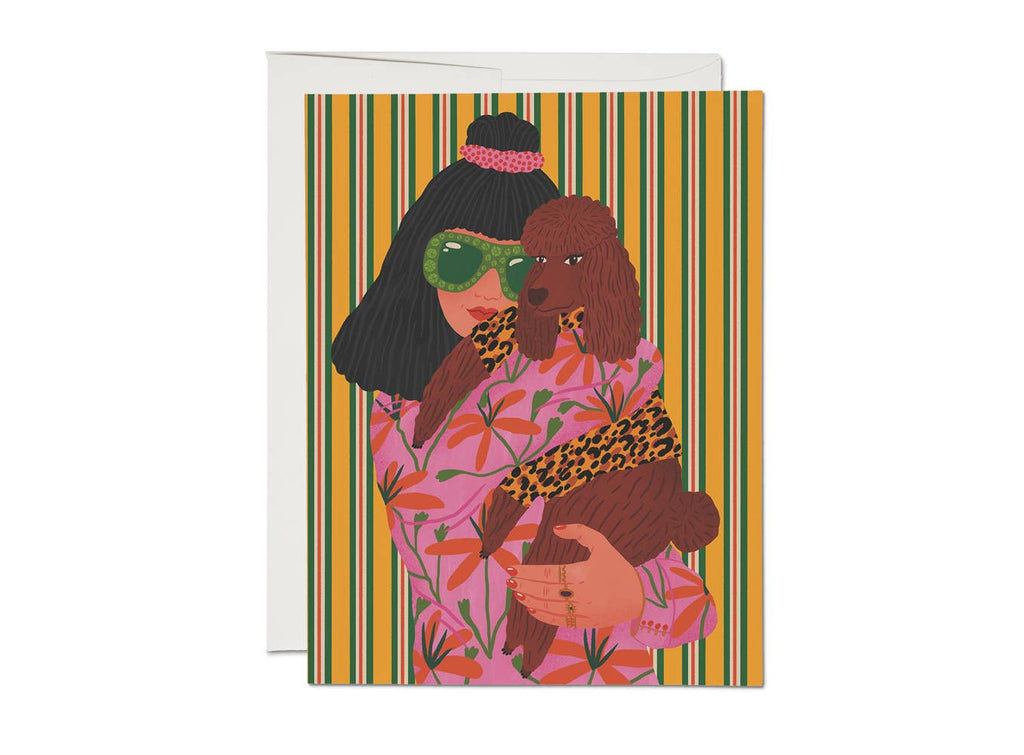 Red Cap Cards - Poodle Woman