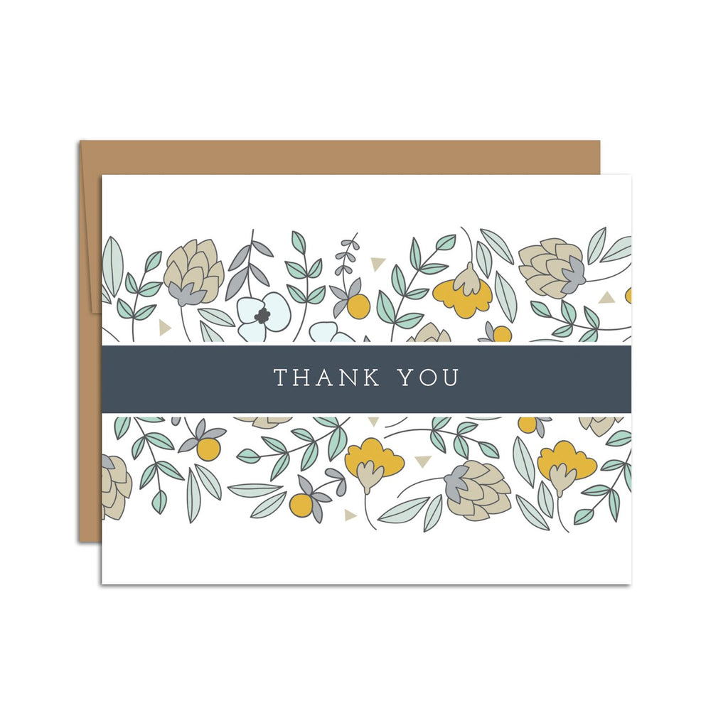 HAZELMADE - Thank You Card (Florals w/ Blue Band)