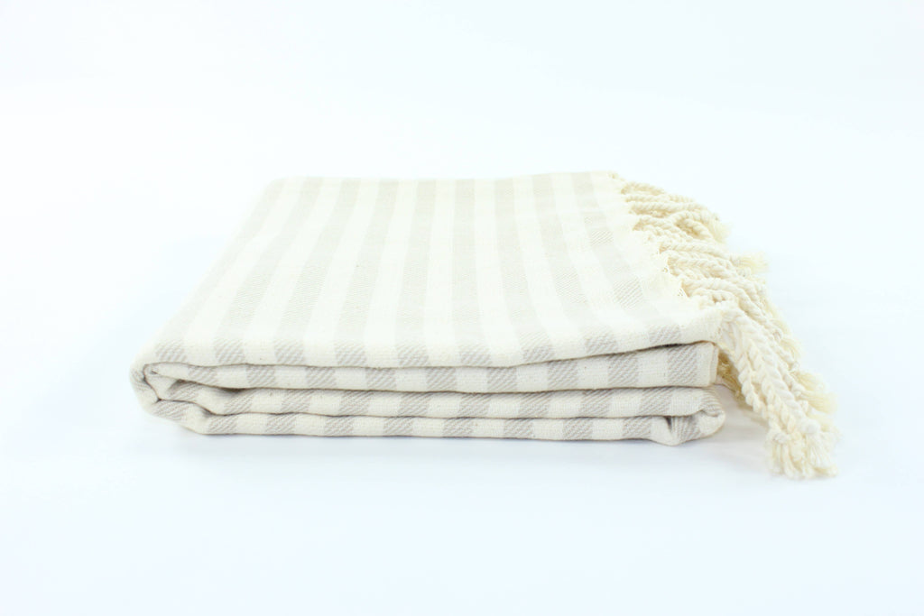 TURKISH LINEN & TOWELS, LLC - Turkish Striped Peshtemal Towel, Sand