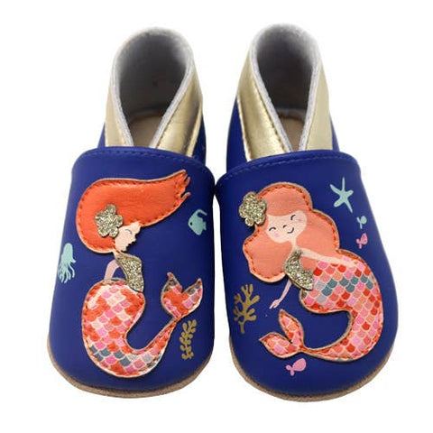 LAIT ET MIEL - Baby leather slippers - Mermaid - 18-24m