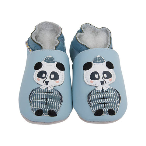 LAIT ET MIEL - Baby leather slippers - Panda - 6-12m