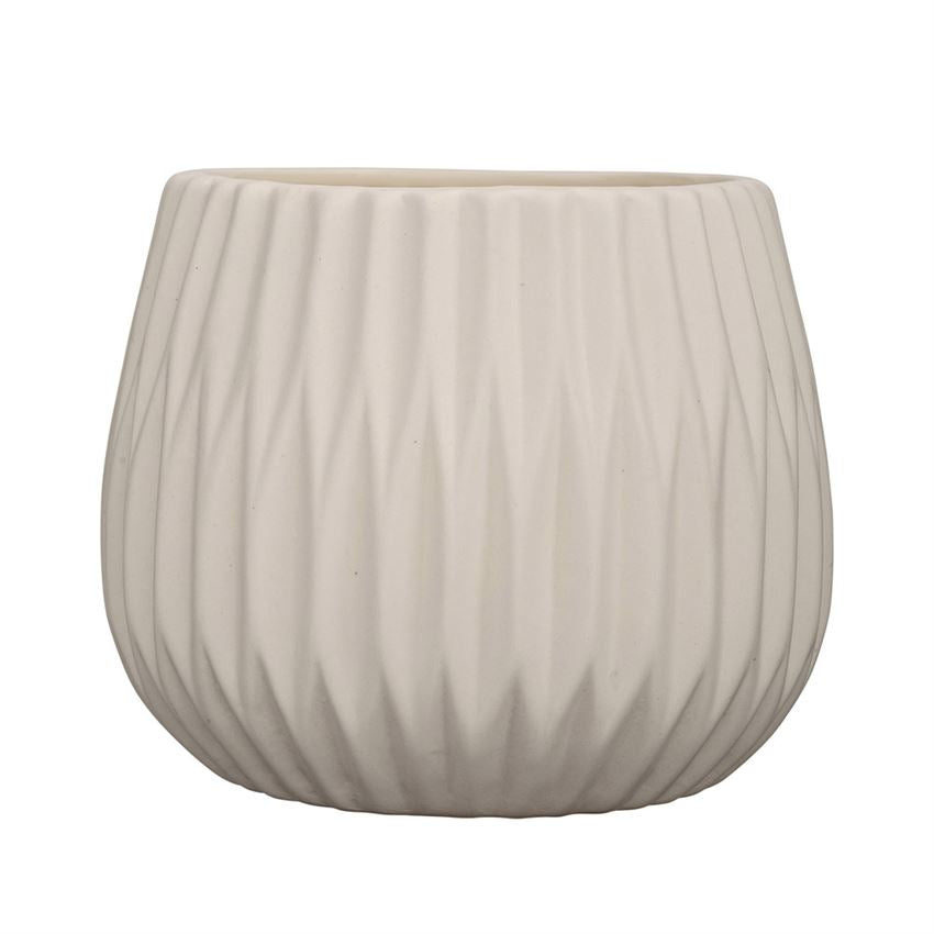 "White Fluted Flower Pot 5""Round x 4""H"