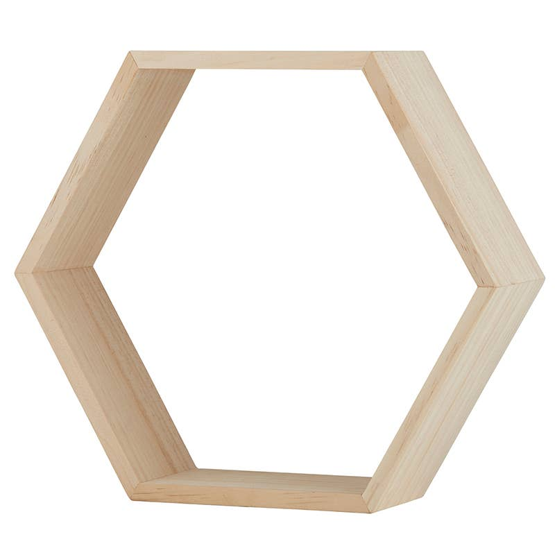 Creative Brands - Hexagon Wood Shelf