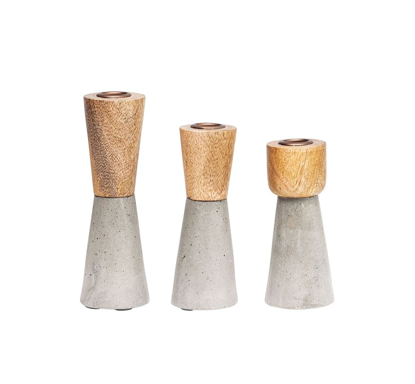 Brown Wood and Grey Cement Candle Holder- Medium