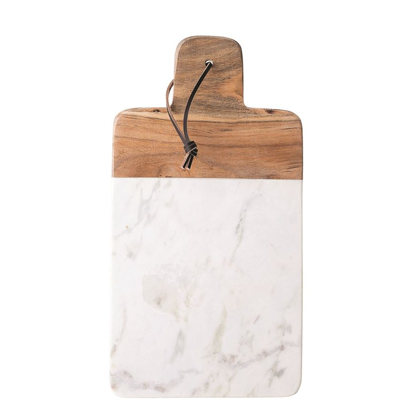 Marble & Mango Wood Tray/Cutting Board with Leather Tie