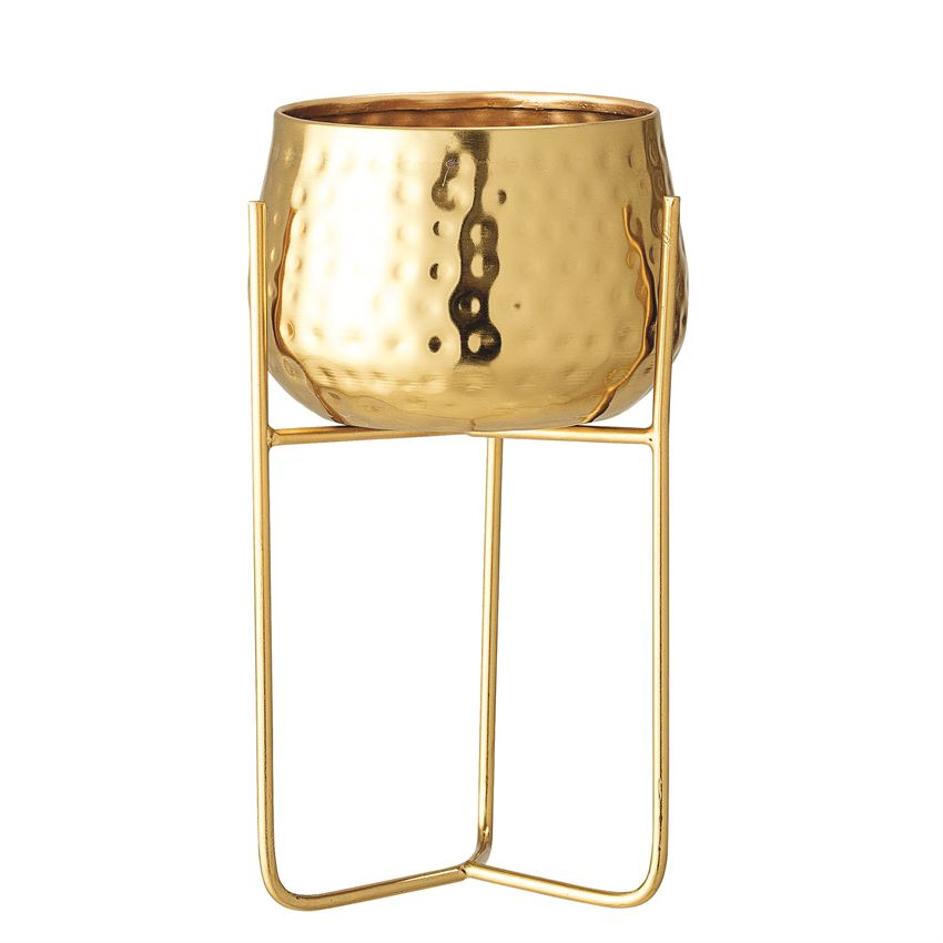 Metal Planter with Stand, Gold Finish