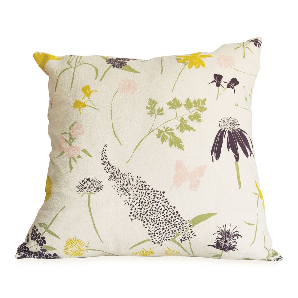 June & December - Butterfly Garden Pillow with Faux Down Insert