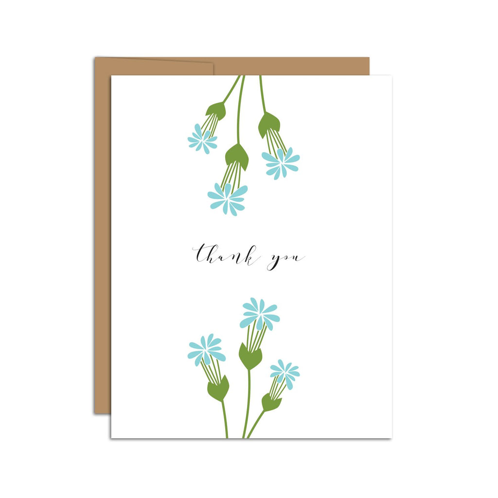 HAZELMADE - Thank You Card (Top + Bottom Edge Blue Florals)