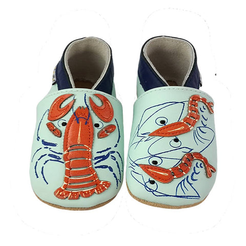 LAIT ET MIEL - Baby leather slippers - Lobster - 18-24m