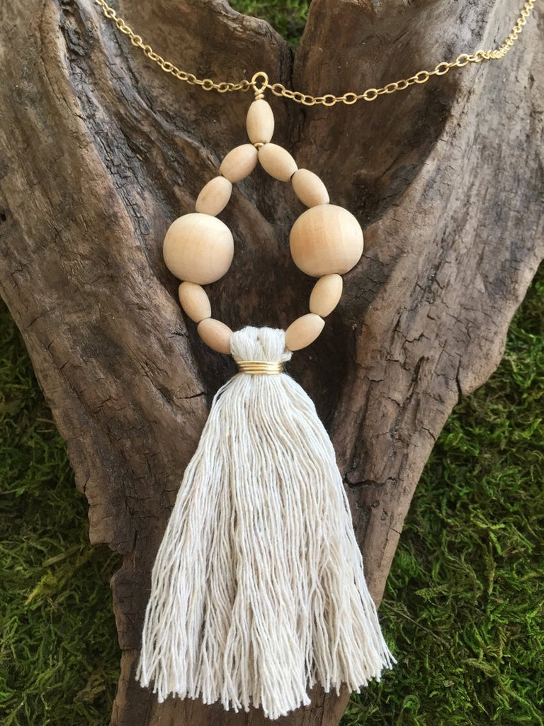 Large Wood Bead and Tassel Necklace