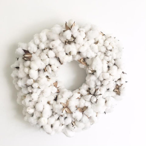 Cotton Snowball Holiday Wreath 24""
